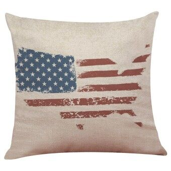 Vintage American Flag Pillow Cases Cotton Linen Sofa Cushion Cover Home Decor A - intl