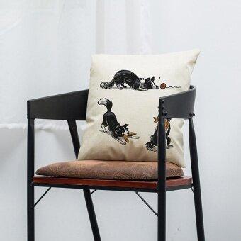 Vintage Dog Cotton Pillow Case Sofa Waist Throw Cushion Cover Home Car Decor H - intl