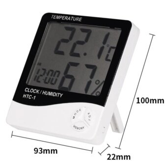 VIP Digital LCD Thermometer Hygrometer Temperature Humidity MeterGauge Alarm Clock (White)