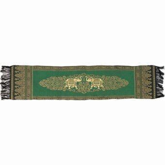 VKP ผ้าคาดโต๊ะ / เตียง ลายช้างกนก (เขียว)