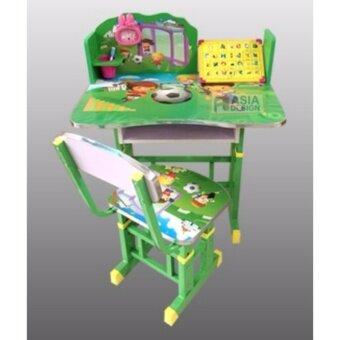 VV ชุดโต๊ะเด็กและเก้าอี้เด็ก ปรับระดับ ลายการ์ตูน สีเขียว
