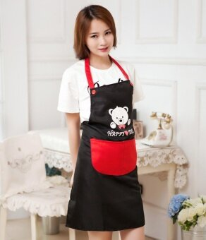 Women Apron Kitchen Restaurant Bib Cooking Aprons With PocketsBlack - intl