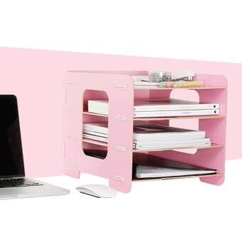 Wooden Office A4 Paper File Holder Multi-Use Sundries Storage EcoWood Desk Organizer - intl