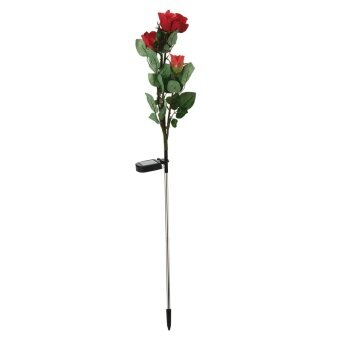 xiuya LED Solar Rose Artificial Flowers Simulation Flower,34x6.3 In,(red) With Case - intl