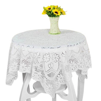 ขอเสนอ YBC 200cm Round Tablecloth Lace Embroidery Table Decoration White