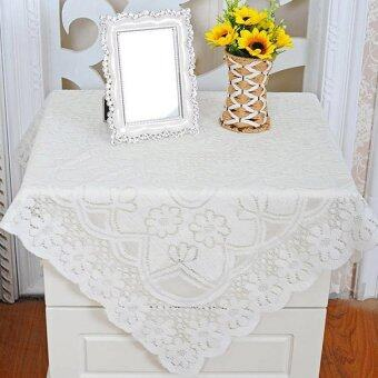 YBC Rectangle Tablecloth Lace Embroidery Table Decoration White