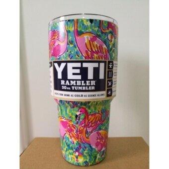 แก้วเบียร์ แก้วน้ำ YETI Cups Cars Beer Mug Large Capacity Mug(ลายฟลามิงโก)