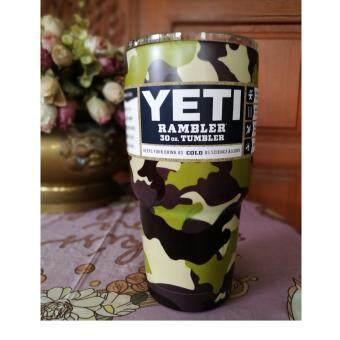 แก้วเบียร์แก้วน้ำ YETI Cups Cars Beer Mug Large Capacity Mug(30oz - สีทหารเขียวอ่อน)