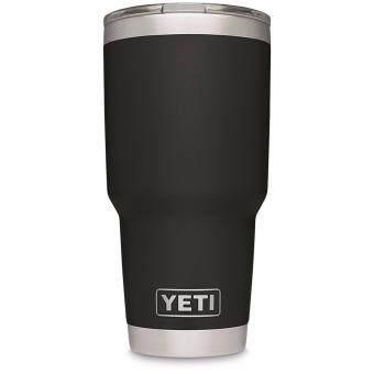 YETI Rambler Tumbler แก้วเยติ แก้วน้ำเก็บอุณหภูมิ YETI แก้วเก็บร้อน แก้วเก็บความเย็น แก้วกาแฟ แก้วเบียร์ ขนาด 30 ออนซ์ (สีดำขอบเลส แถมฟรี หลอดสแตนเลส 1 อัน)