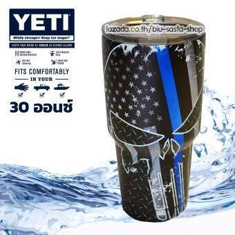 YETI Rambler Tumbler แก้วน้ำเก็บอุณหภูมิ YETI แก้วเก็บร้อน แก้วเก็บความเย็น แก้วกาแฟ แก้วเบียร์ ขนาด 30 ออนซ์ (สีดำ ลายหัวกระโหลกแถบน้ำเงิน)