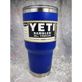 YETI Rambler Tumbler แก้วเยติ แก้วน้ำเก็บอุณหภูมิ YETI แก้วเก็บร้อน แก้วเก็บความเย็น แก้วกาแฟ แก้วเบียร์ ขนาด 30 ออนซ์ (BLUE ขอบสแตนเลส)