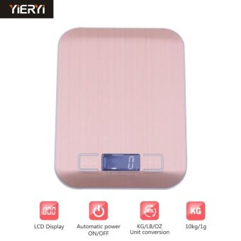 Harga yieryi 10kg/1g Stainless Steel Digital Kitchen Scales CookingMeasure Tools Electronic Weight LED Food Scale with Rose goldsteelyard weight kitchen - intl