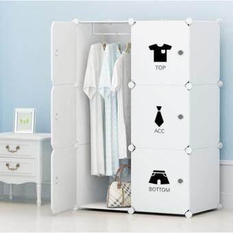 Yifun ตู้เสื้อผ้า ตู้อเนกประสงค์ DIY Wardrobe-ขาว