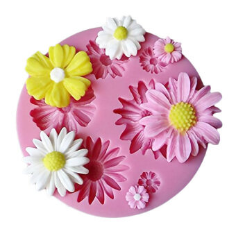 Yika ยางทำจากซิลิคอน 3D ดอกไม้รอบเค้กฝีมือด้วยแม่พิมพ์ (สีชมพู)