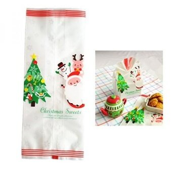 Yunko Merry Christmas Cookie Packaging Plastic Bags for Biscuits Cake Baking Package (50pcs Christmas Tree) - intl
