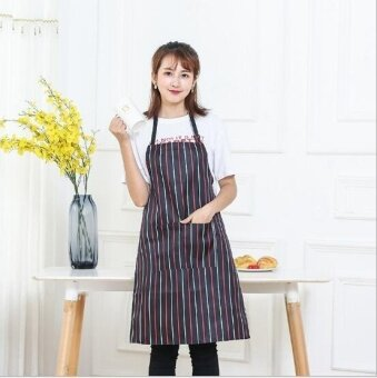 ZH creative polyester custom-made cotton Korean edition kitchen waterproof apron(black) - intl