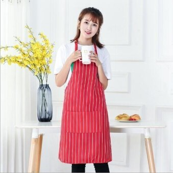 ZH creative polyester custom-made cotton Korean edition kitchen waterproof apron(red) - intl