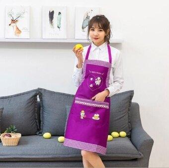 ZH fashion anti-fouling waterproof and caring cat creative apron(purple) - intl