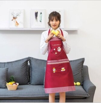 ZH fashion anti-fouling waterproof and caring cat creative apron(red) - intl