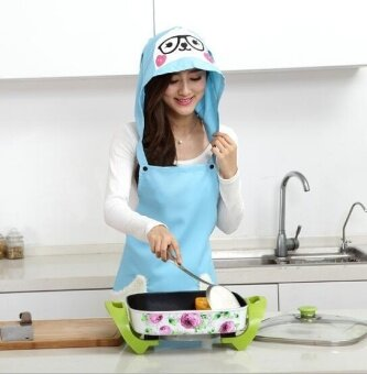 ZH kitchen dustproof anti-oil creative household hooded apron(blue) - intl
