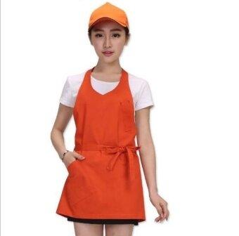 ZH women's fashion cafe milk tea kitchen pure cotton waiters working apron(orange) - intl