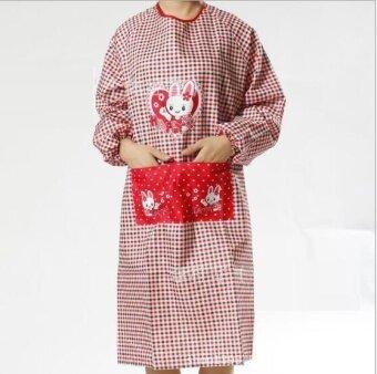 ZH women's modern simple creative fashionable household has sleeve waterproof apron(red) - intl