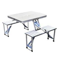 Zimmer โต๊ะเก้าอี้ ปิคนิค อลูมิเนียม พับเก็บได้ (สีเทา)