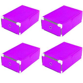 Zreeelz bag กล่องใส่รองเท้าพลาสติกแบบพับเก็บได้ชุด 4 อัน สีม่วง