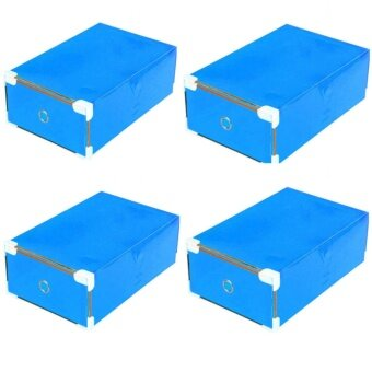 Zreeelz Car กล่องใส่รองเท้าพลาสติกแบบพับเก็บได้ชุด 4 อัน สีฟ้า