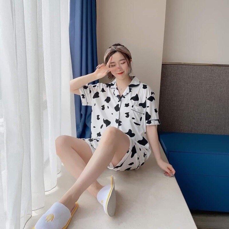 GN ❤️ 2XL ชุดนอนลายน่ารักแขนสั้นขาสั้น ชุดนอนผ้าคอตตอน ชุดนอนลายการ์ตูน ชุดนอนผู้หญิง ST11