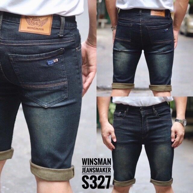 ยีนส์ยืด สั้นชาย กางเกงขาสั้น กางเกงยีนส์ขาสั้น เดฟ ผ้ายืด Skinny Winsman เป้าซิป Size. 28-42