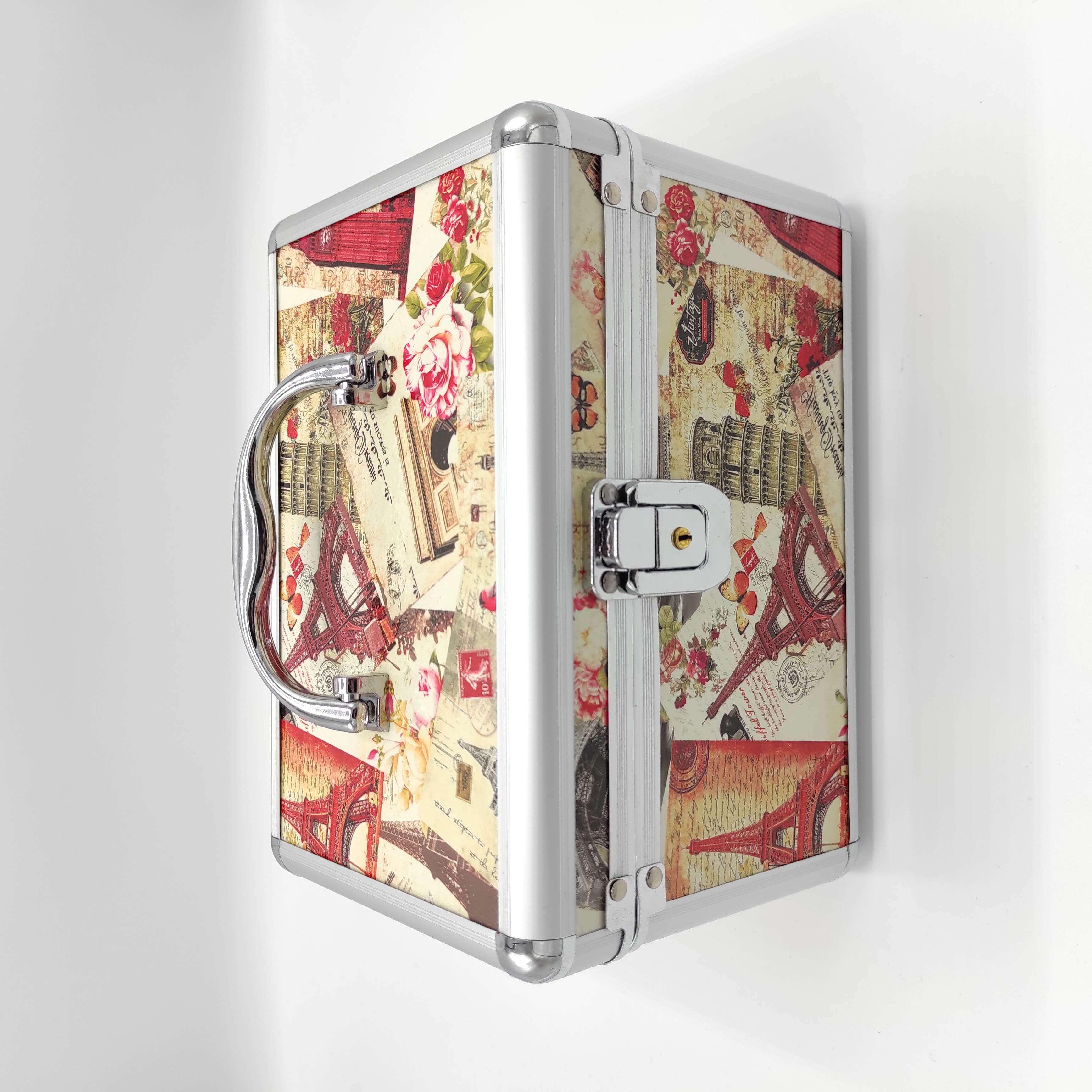 #16 กล่องใส่เครื่องสำอาง 2 ชั้น มีระบบกุญแจ และ ตั้งรหัส กล่องใส่เครื่องสำอาง