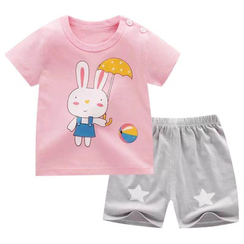 Babyonline(Y089)A2ชุดเสื้อกางเกงพิมพ์ลายการ์ตูนสำหรับเด็ก6เดือนถึง4ปี
