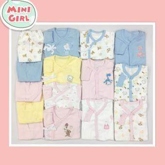 ชุดเซ็ตเสื้อผ้าเด็กแรกเกิด เสื้อผูกหน้า ชุดหมี/บอดี้สูท ขนาด 0-3\nเดือน (Mini girl set)