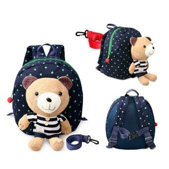 Harga 1-3 years old Baby Keeper Toddler Walking Safety Harnesses BearBackpack Strap Bag(Blue)