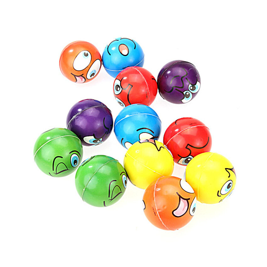 1 lot/12PCs Emoji Face Squeeze Balls Stress Relax Emotional Toy Balls Whole (Multicolor) - intl