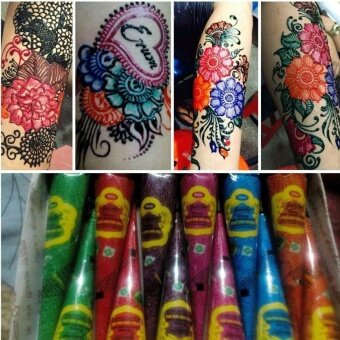 1 Piece Indian Henna Tattoo Paste 6 Colors Women Body Art PaintDrawing Temporary Natural Plant Pigment Henna Paste Mehndi Cone -intl