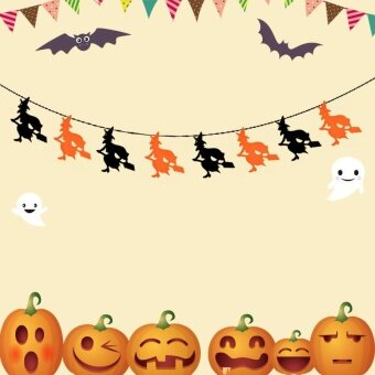 1 Set Halloween Non-woven Fabric Hanging Flags Ornaments( style:witch ) - intl