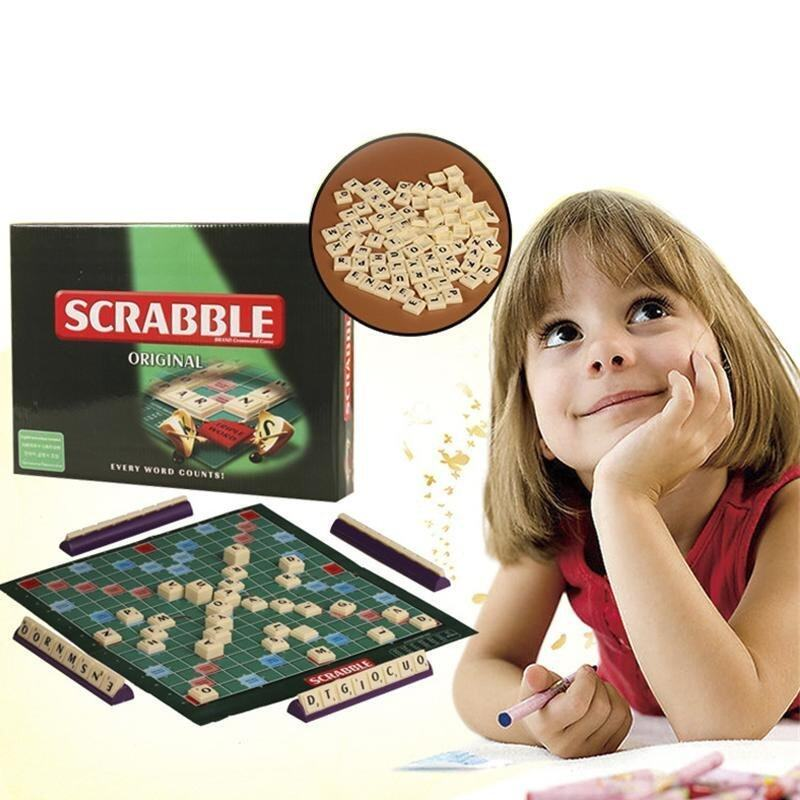 1 set Scrabble Board Game Learn English Crossword Spelling Educational Toys For Kids - intl