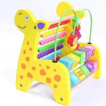 ของเล่นไม้ ยีราฟไม้รางลูกคิดจำนวน10หลัก สอนนับเลข1-10