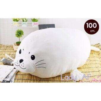 ตุ๊กตาแมวน้ำ ผ้านุ่มนิ่ม ขนาด 100 cm. สีขาว