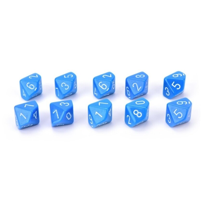 10pcs Acrylic Role Playing Games Multiple Sides 10 Sided Dice Game Accessories Blue - intl