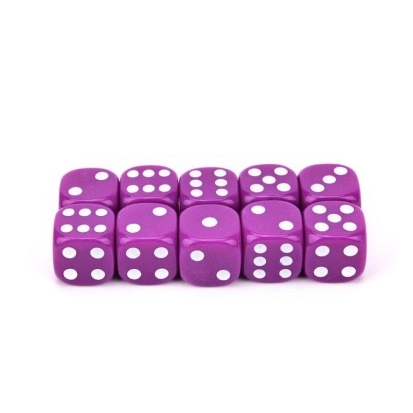 10Pcs Acrylic Six Sides Dot D6 Playing Game Dices Bar Pub Toy Purple - intl
