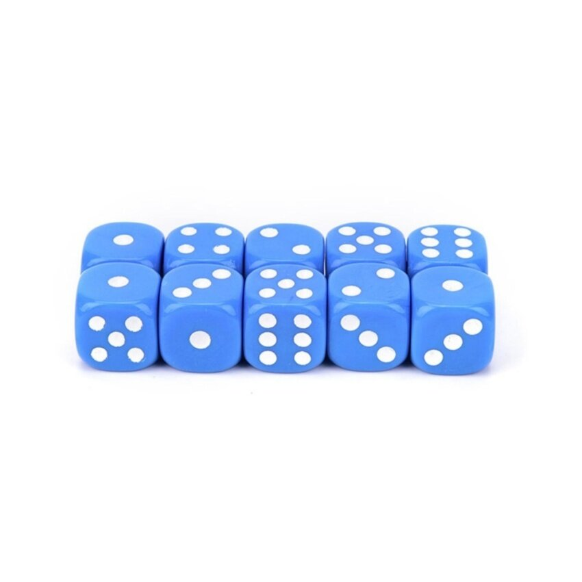10Pcs Acrylic Six Sides Spot Dot D6 Playing Game Color Dices Bar Pub Toy Blue - intl