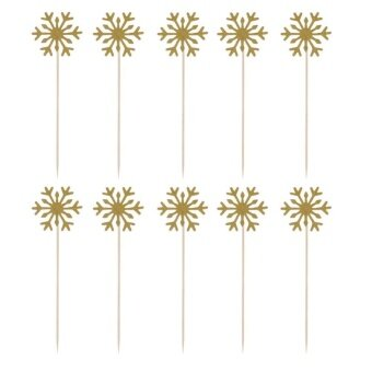10pcs Cake Toppers Handmade Cupcake Toppers Wedding PartyDecor(Gold) - intl