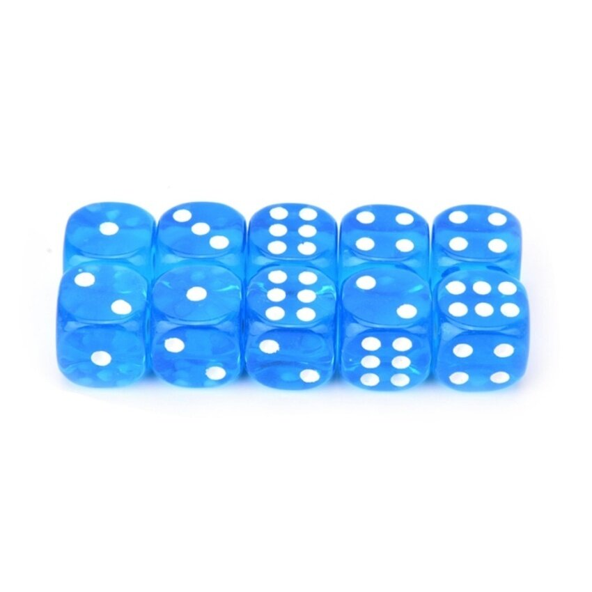 10pcs/Lot 13mm Clear Colorful Digital Dice Six Sided Spot Dice High Quality Game Tools Blue - intl