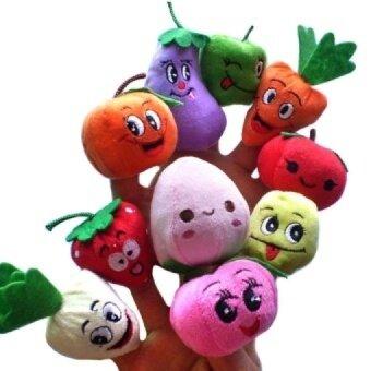 10PCS/Set Fruit Vegetable Finger Puppets Storytelling Doll Kids Children Baby Educational Toys - intl