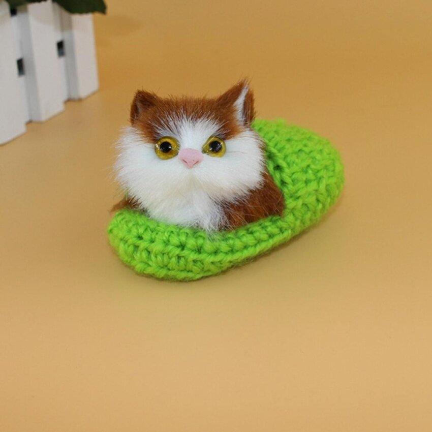 10x6cm Mini Simulation Sounding Shoe Kittens Cat Plush Toys Kids Appease Doll,Green - intl