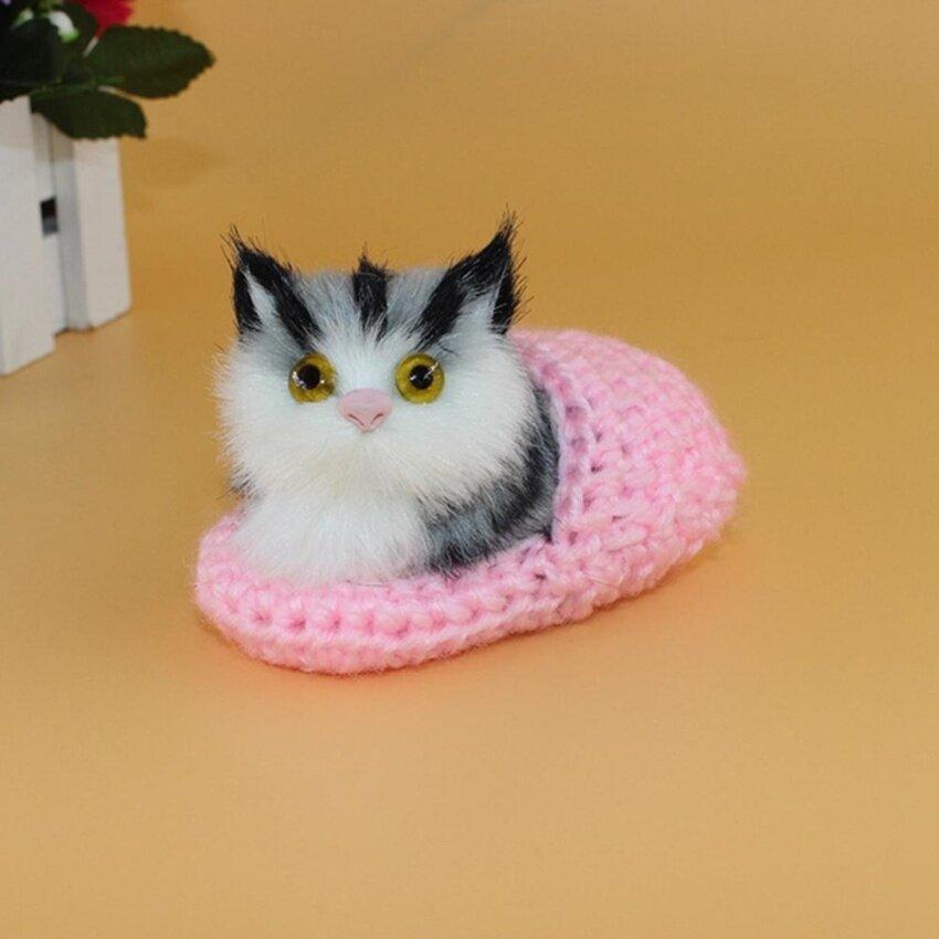 10x6cm Mini Simulation Sounding Shoe Kittens Cat Plush Toys Kids Appease Doll,Pink - intl image