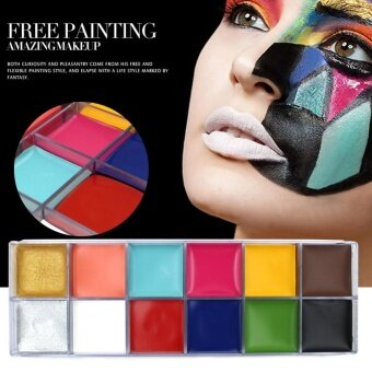 12 Colors Face Body Flash Tattoo Oil Painting Pigment Makeup Tool#2 - intl
